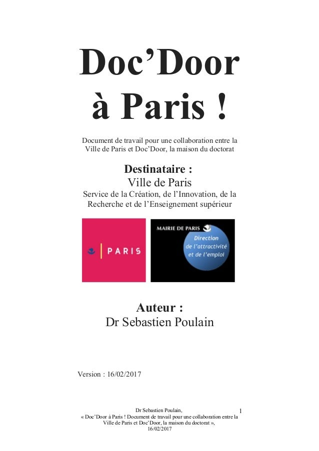 Doc'Door à Paris ! Document de travail pour une collaboration entre la Ville de Paris et Doc'Door, la maison du doctorat D...