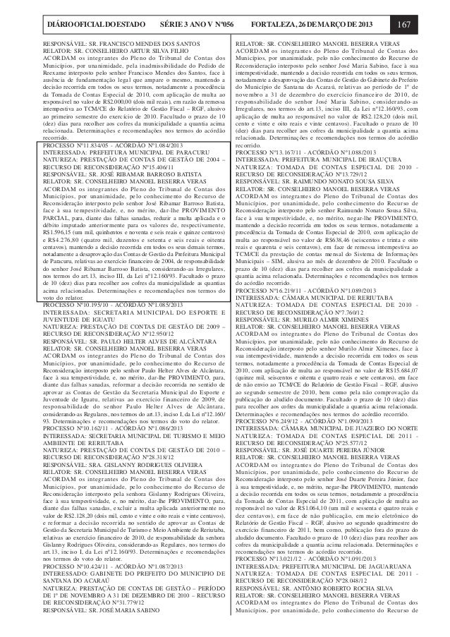 DIÁRIO OFICIAL DO ESTADO                        SÉRIE 3 ANO V Nº056                 FORTALEZA, 26 DE MARÇO DE 2013        ...
