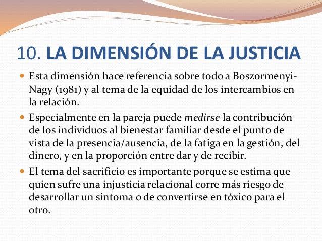 10. LA DIMENSIÓN DE LA JUSTICIA  Esta dimensión hace referencia sobre todo a Boszormenyi- Nagy (1981) y al tema de la equ...