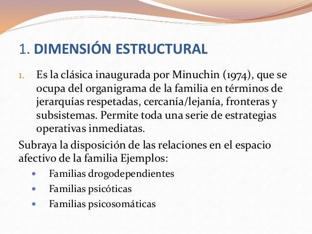 1. DIMENSIÓN ESTRUCTURAL 1. Es la clásica inaugurada por Minuchin (1974), que se ocupa del organigrama de la familia en té...