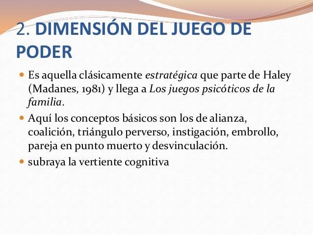 2. DIMENSIÓN DEL JUEGO DE PODER  Es aquella clásicamente estratégica que parte de Haley (Madanes, 1981) y llega a Los jue...