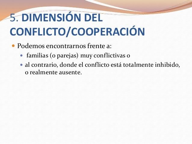 5. DIMENSIÓN DEL CONFLICTO/COOPERACIÓN  Podemos encontrarnos frente a:  familias (o parejas) muy conflictivas o  al con...