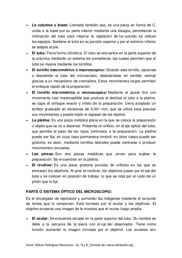 ed6ac3465b Doc el microscopio historia, clases y sus partes_Autor_Nilxon Rodrígu…