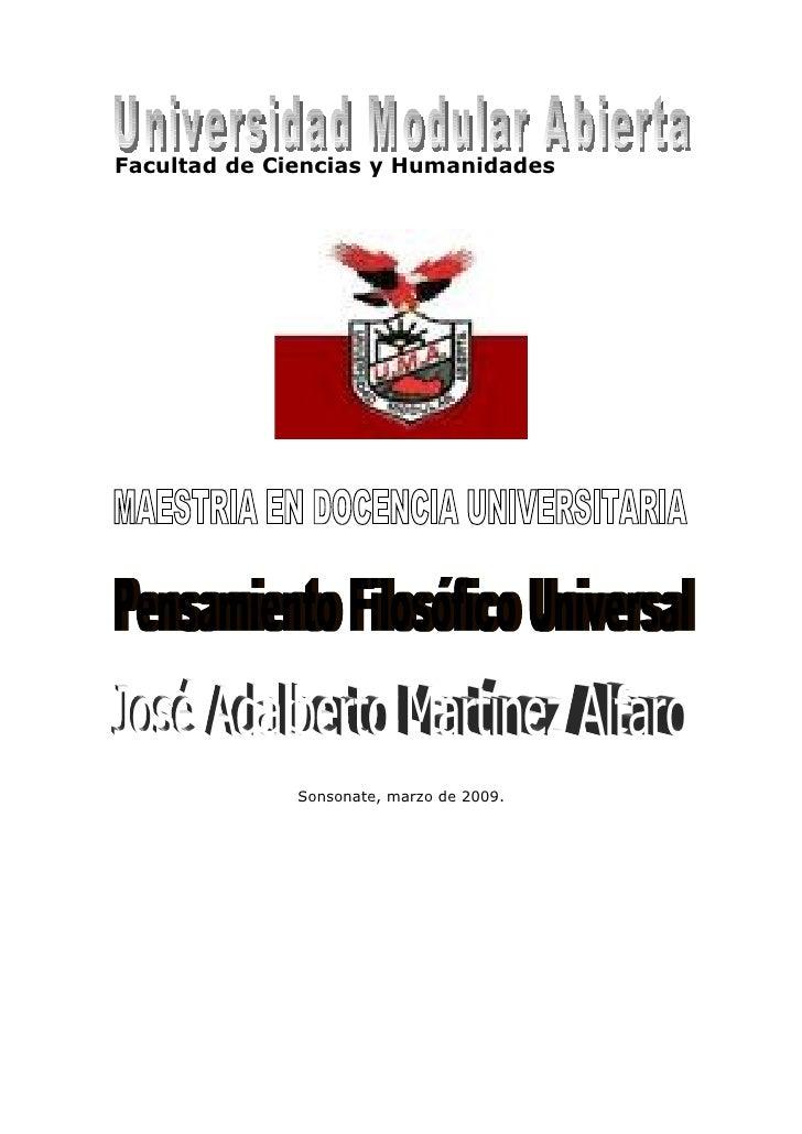 Facultad de Ciencias y Humanidades                   Sonsonate, marzo de 2009.