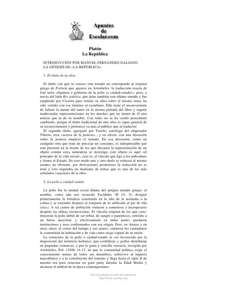 Platón                              La República   INTRODUCCIÓN POR MANUEL FERNANDEZ-GALIANO   LA GÉNESIS DE «LA REPÚBLICA...