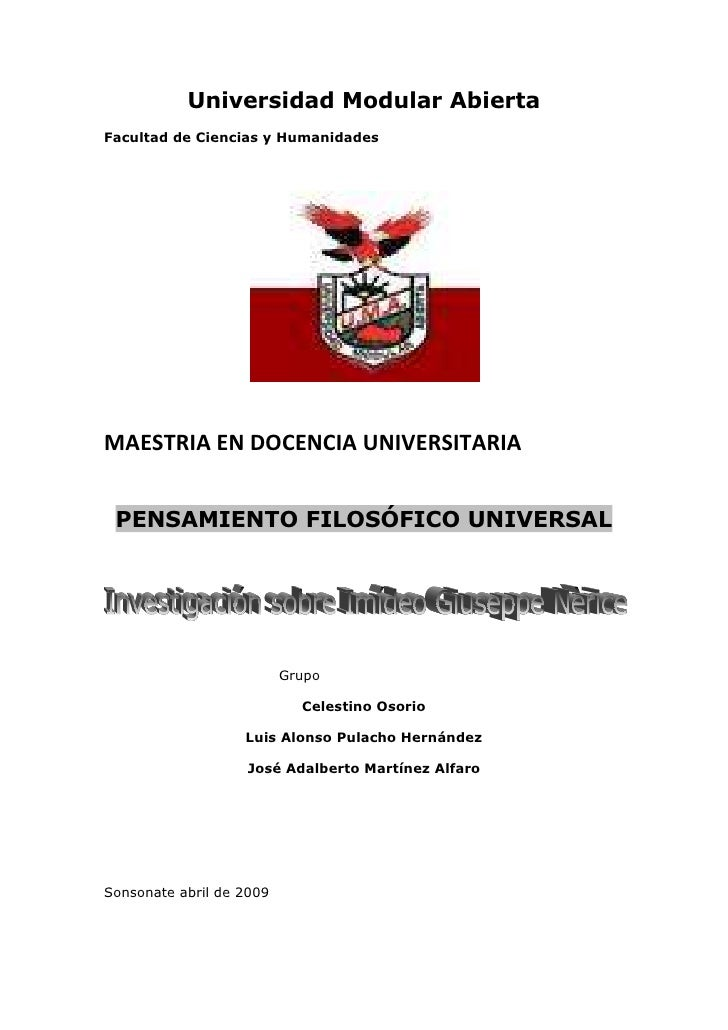 Universidad Modular Abierta Facultad de Ciencias y Humanidades     MAESTRIA EN DOCENCIA UNIVERSITARIA    PENSAMIENTO FILOS...