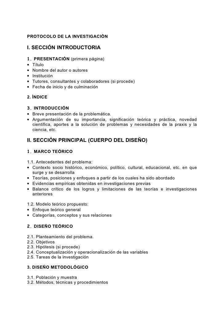 Docencia 2 protocolo investigacion for Ejemplo protocolo autocontrol piscinas