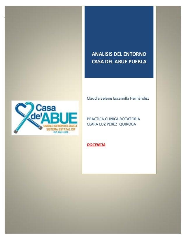 1 ANALISIS DEL ENTORNO CASA DEL ABUE PUEBLA Claudia Selene Escamilla Hernández PRACTICA CLINICA ROTATORIA CLARA LUZ PEREZ ...