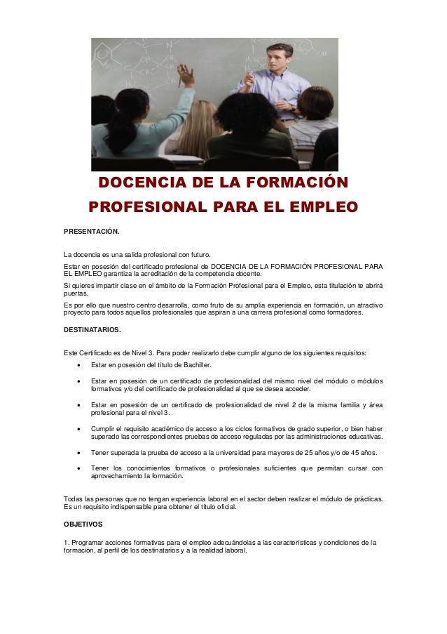 Docencia De La Formación Profesional