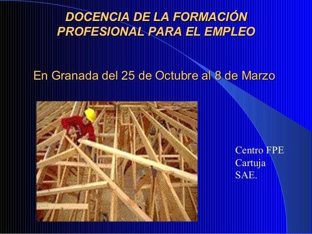 DOCENCIA DE LA FORMACIÓNDOCENCIA DE LA FORMACIÓNPROFESIONAL PARA EL EMPLEOPROFESIONAL PARA EL EMPLEOEn Granada del 25 de O...