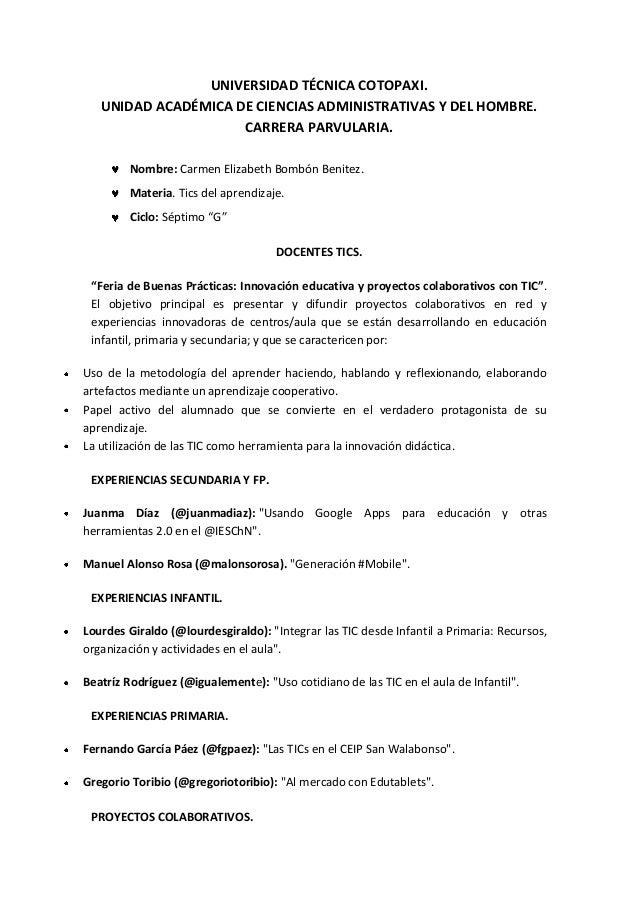 UNIVERSIDAD TÉCNICA COTOPAXI.UNIDAD ACADÉMICA DE CIENCIAS ADMINISTRATIVAS Y DEL HOMBRE.CARRERA PARVULARIA.Nombre: Carmen E...