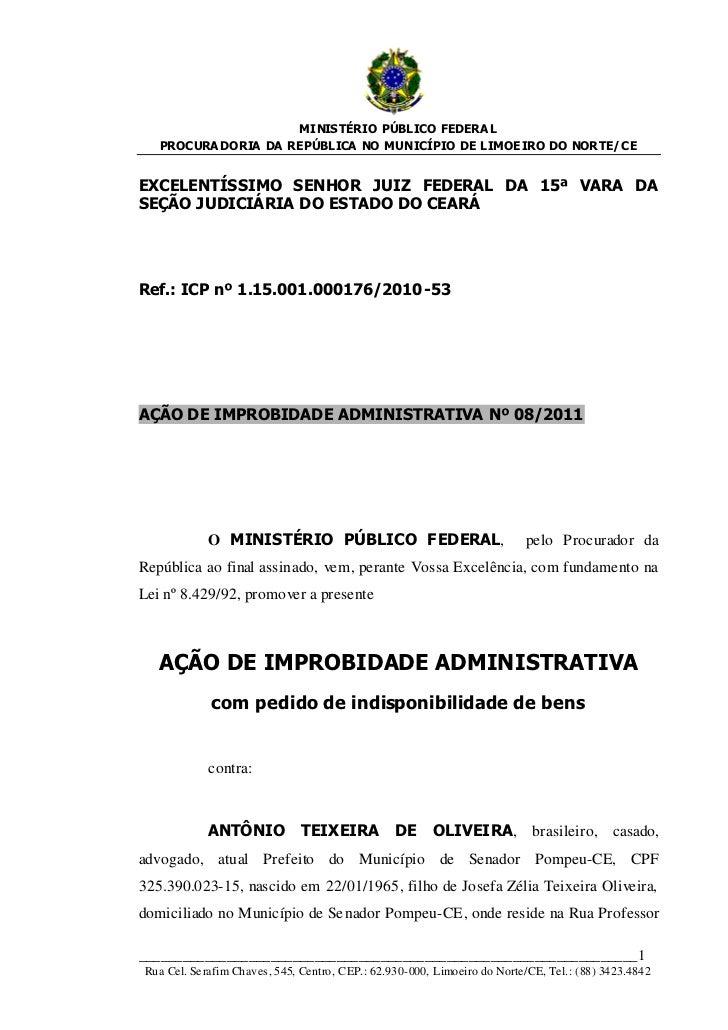 MINISTÉRIO PÚBLICO FEDERA L   PROCURA DORIA DA REPÚBLICA NO MUNICÍPIO DE LIMOEIRO DO NORTE/ CEEXCELENTÍSSIMO SENHOR JUIZ F...
