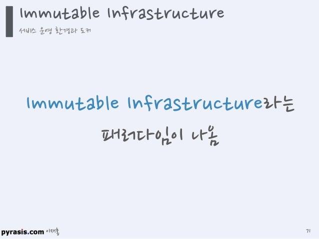 이재홍 Immutable Infrastructure 서비스 운영 환경과 도커 72 호스트 OS와 서비스 운영 환경 (서버 프로그램, 소스 코드, 컴파일 된 바이너리)을 분리