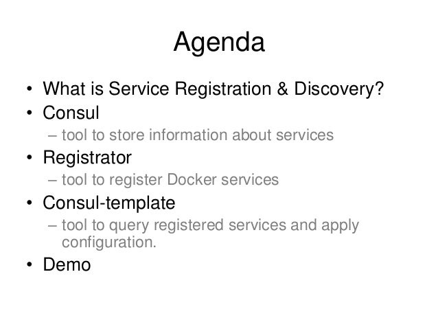 Docker service registration and discovery for Consul template docker