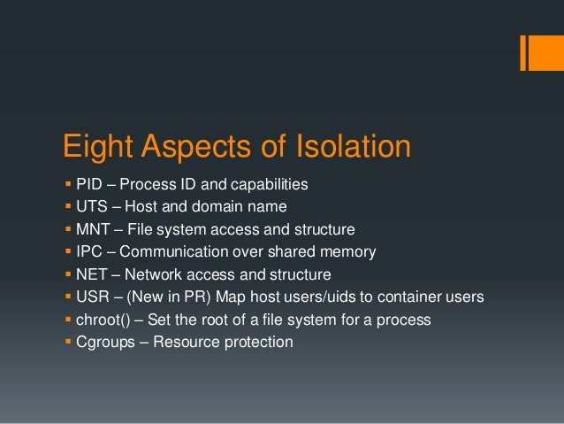 Docker aspects of container isolation for Container isolation