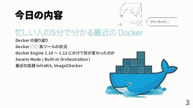 今日の内容 忙しい人の5分で分かる最近の Docker Docker の振り返り Docker ○○ 系ツールの状況 Docker Engine 1.10 ~ 1.12 にかけて何が変わったのか Swarm Mode ( Built-in Or...
