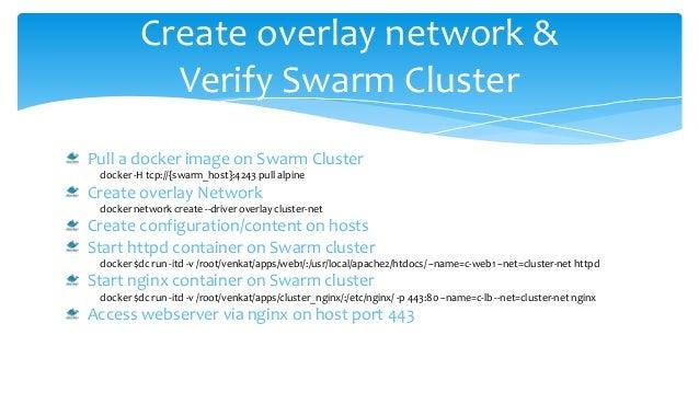 Create overlay network & Verify Swarm Cluster Pull a docker image on Swarm Cluster docker -H tcp://{swarm_host}:4243 pull ...