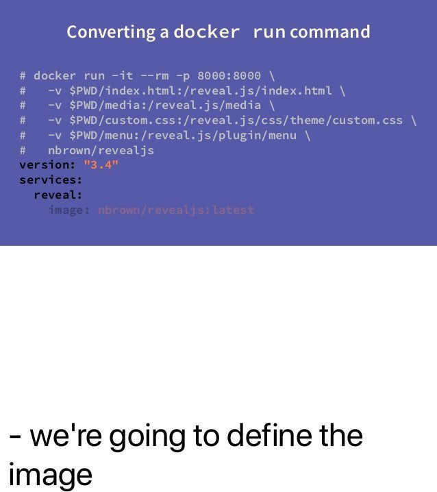 - we're going to define the image Converting a docker run command # docker run -it --rm -p 8000:8000  # -v $PWD/index.html...