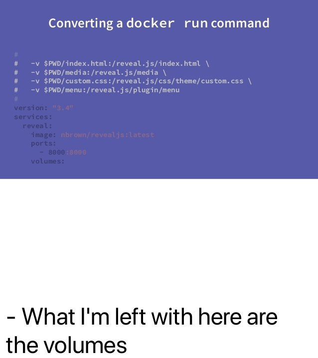 - What I'm left with here are the volumes Converting a docker run command # # -v $PWD/index.html:/reveal.js/index.html  # ...