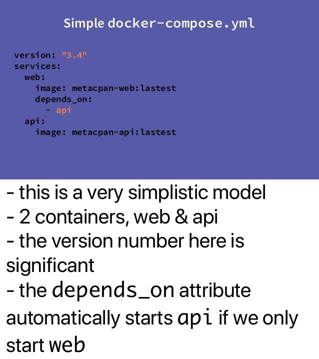 - this is a very simplistic model - 2 containers, web & api - the version number here is significant - the depends_on attr...