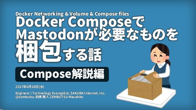 1 Docker Networking & Volume & Compose files Docker Composeで Mastodonが必要なものを 梱包する話 Engineer / Technology Evangelist, SAKUR...