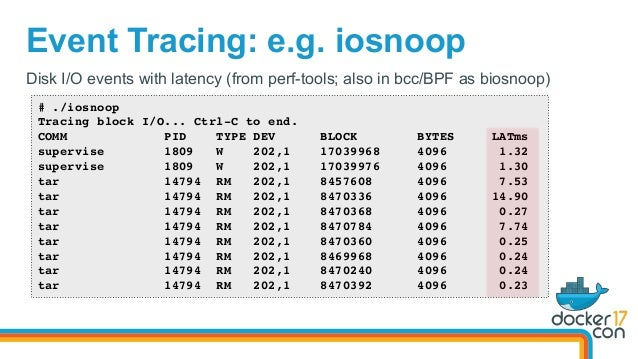 Event Tracing: e.g. iosnoop Disk I/O events with latency (from perf-tools; also in bcc/BPF as biosnoop) # ./iosnoop Tracin...