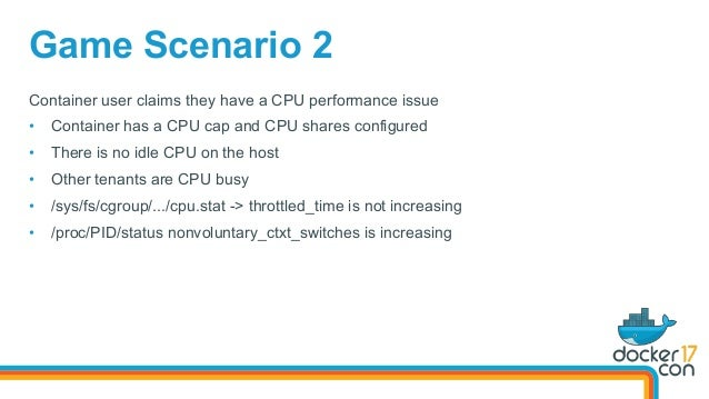 Game Scenario 2 Container user claims they have a CPU performance issue • Container has a CPU cap and CPU shares configur...