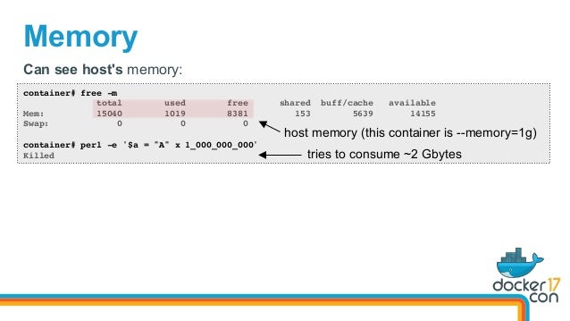 Memory container# free -m total used free shared buff/cache available Mem: 15040 1019 8381 153 5639 14155 Swap: 0 0 0 cont...