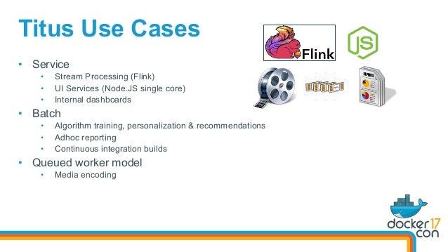 Titus Use Cases • Service • Stream Processing (Flink) • UI Services (Node.JS single core) • Internal dashboards • Bat...