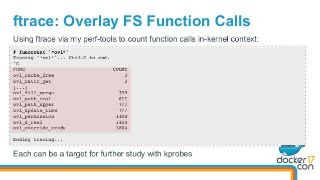 "ftrace: Overlay FS Function Calls # funccount '*ovl*' Tracing ""*ovl*""... Ctrl-C to end. ^C FUNC COUNT ovl_cache_free 3 ovl..."