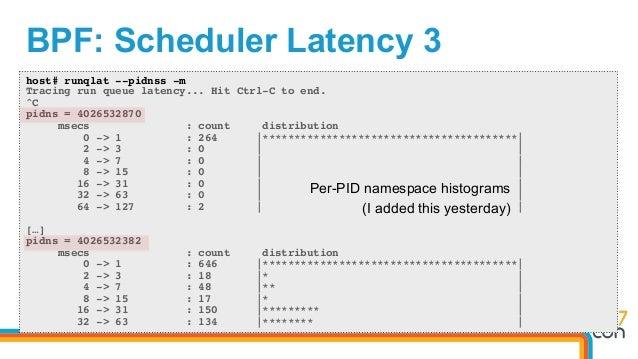 BPF: Scheduler Latency 3 host# runqlat --pidnss -m Tracing run queue latency... Hit Ctrl-C to end. ^C pidns = 4026532870 m...