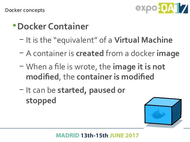 •Docker client – Command line interface (CLI) tool to control docker engine – It is available when docker is installed in ...