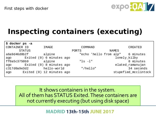 First steps with docker ● Interactive commands in containers – When you execute a /bin/sh command in a container it offers...