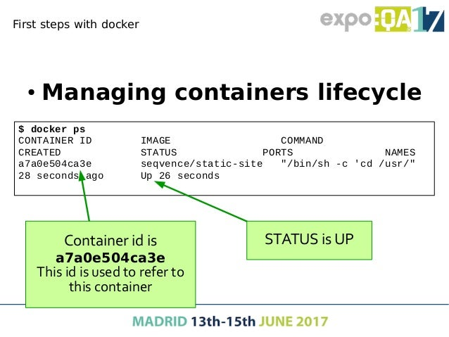 """Net services with docker ● Start container exposing a port docker run --name static-site  -e AUTHOR=""""Your Name"""" -d  -p 900..."""