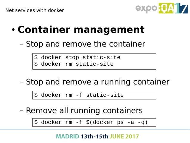 Managing docker images ● Managing versions – Download a concrete version – Download latest version $ docker pull ubuntu:12...