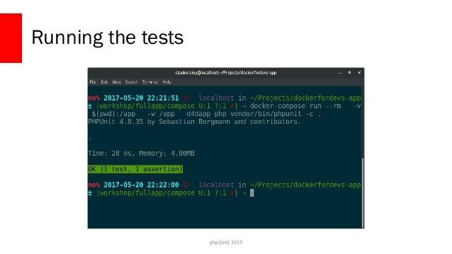 php[tek] 2017 Build a service service: testrunner: build: ./docker/ volumes: - ./:/app working_dir: /app command: vendor/b...