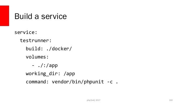 php[tek] 2017 Run the tests with the service docker-compose run --rm testrunner 103