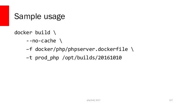 phpserver.dockerfile FROM php:fpm RUN docker-php-ext-install pdo pdo_mysql COPY ./ /var/www php[tek] 2017 128