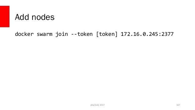 docker-compose.yml version: '3' services: phpserver: image: php:apache ports: - 80:80 php[tek] 2017 168