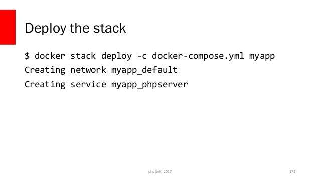 docker-compose.yml version: '3' services: phpserver: image: php:apache ports: - 80:80 php[tek] 2017 172