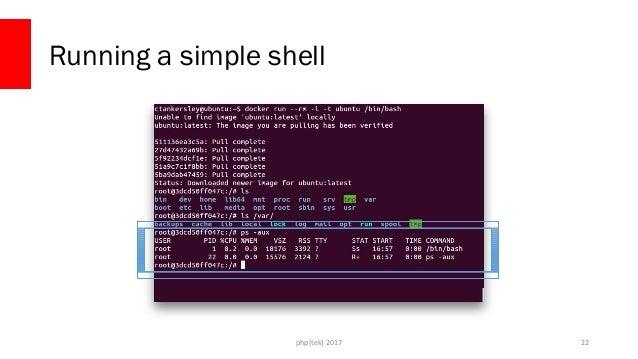 php[tek] 2017 What's Going On? 23 Ubuntu Kernel / + bin/ + etc/ + dev/ + home/ + usr/ + var/ + lib/ + … nginx bash / + bin...