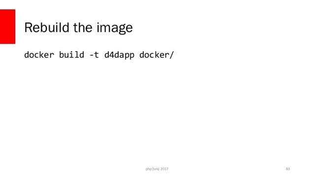 php[tek] 2017 Rebuild the container $ docker rm -f d4dapp $ docker run -d --name d4dapp  -v C:dragoProjectsdockerfordevs-a...
