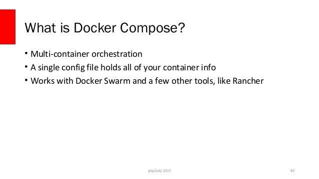 php[tek] 2017 Sample docker-compose.yml version: '2' volumes: mysqldata: driver: local services: d4dapp: build: ./docker/ ...
