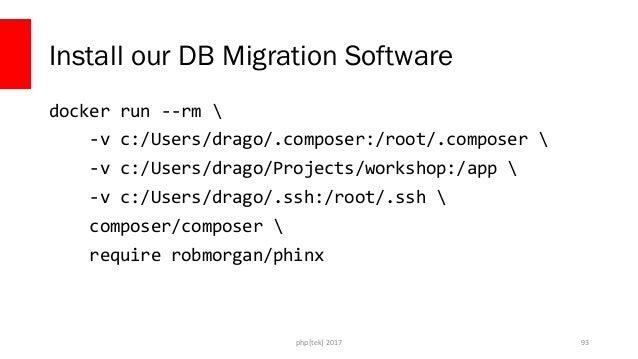 php[tek] 2017 Set up phinx docker run --rm  -v C:UsersdragoProjectsdockerfordevs-app:/app  -w /app  php:cli php vendor/bin...
