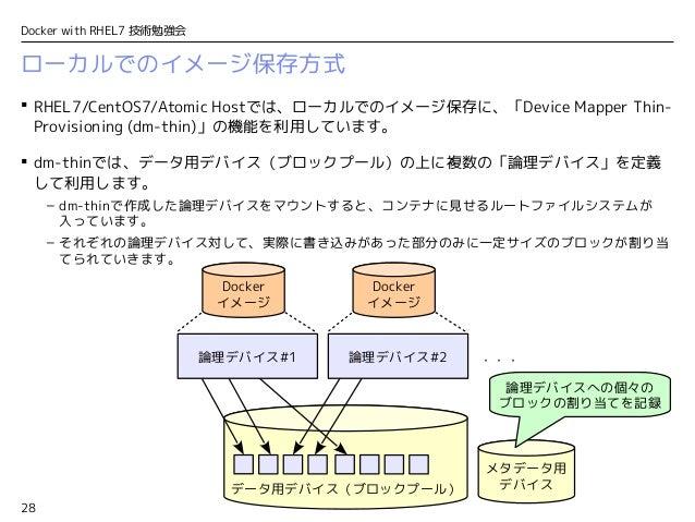 28 Docker with RHEL7 技術勉強会 ローカルでのイメージ保存方式  RHEL7/CentOS7/Atomic Hostでは、ローカルでのイメージ保存に、「Device Mapper Thin- Provisioning (d...