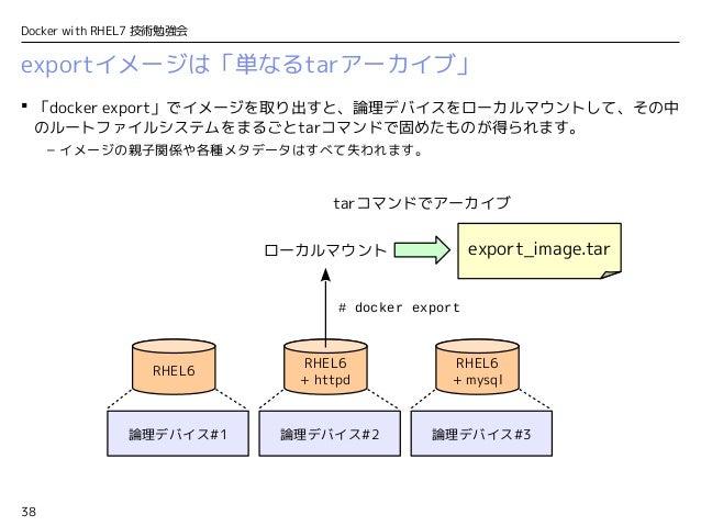 38 Docker with RHEL7 技術勉強会 exportイメージは「単なるtarアーカイブ」  「docker export」でイメージを取り出すと、論理デバイスをローカルマウントして、その中 のルートファイルシステムをまるごとta...