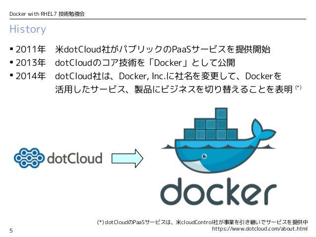 5 Docker with RHEL7 技術勉強会 History  2011年 米dotCloud社がパブリックのPaaSサービスを提供開始  2013年 dotCloudのコア技術を「Docker」として公開  2014年 dotCl...