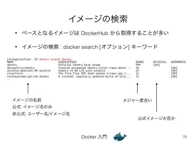 イメージの検索  • ベースとなるイメージは DockerHub から取得することが多い  • イメージの検索 : docker search [オプション] キーワード  [root@localhost ~]# docker search u...