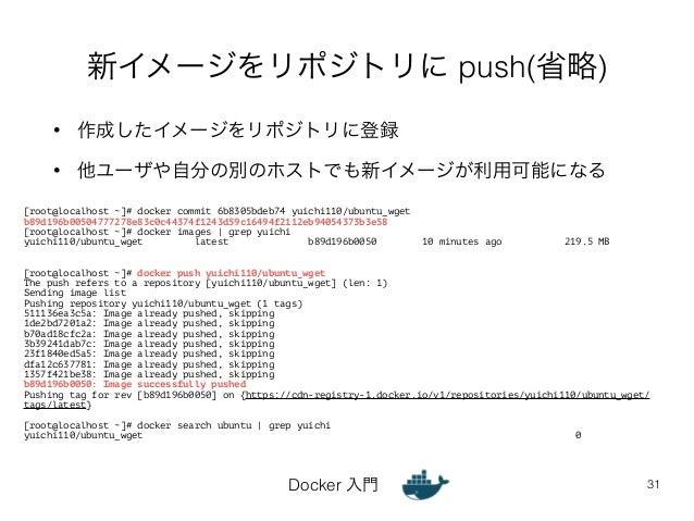 新イメージをリポジトリに push(省略)  • 作成したイメージをリポジトリに登録  • 他ユーザや自分の別のホストでも新イメージが利用可能になる  Docker 入門  31  [root@localhost ~]# docker comm...