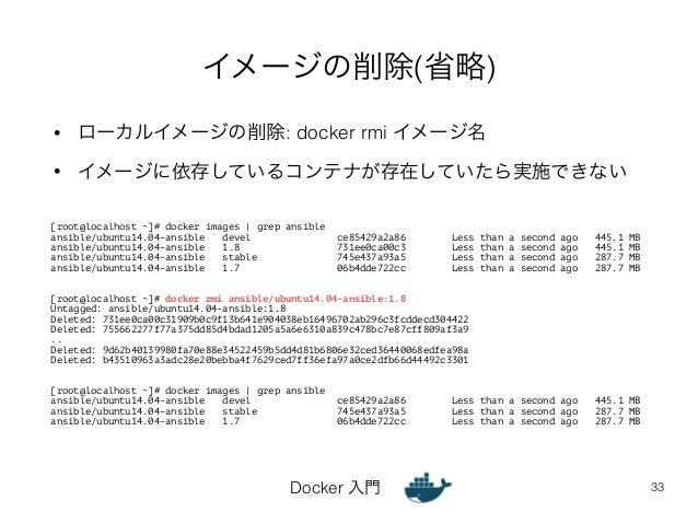 イメージの削除(省略)  • ローカルイメージの削除: docker rmi イメージ名  • イメージに依存しているコンテナが存在していたら実施できない  Docker 入門  33  [root@localhost ~]# docker i...